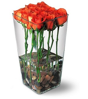 TF38-3 - Orange South American Long Stem Roses with River Rocks