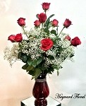 RED Bella RHINESTONE -  Dozen South American Long Stem Red Roses
