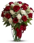 HFS 6 - 2 Dozen Red & White Long Stem Roses
