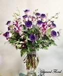 HFS 35   2 Dozen PURPLE GLITTER Tip Long Stem South American Roses With Purple ORCHIDS (V)