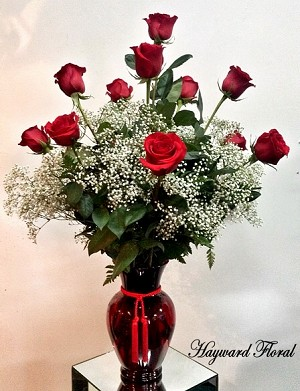 RED Ruby -  Dozen South American Long Stem Red Roses